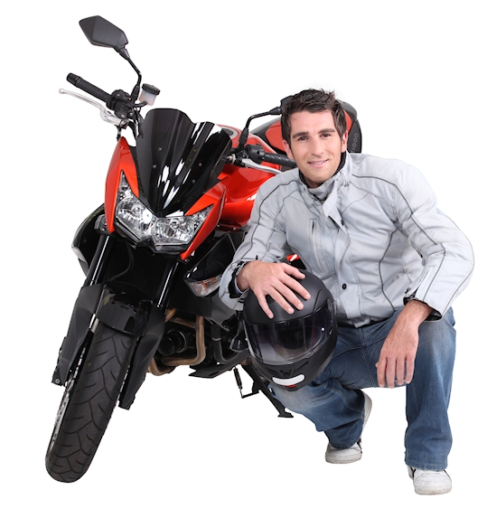 picture of man kneeling with an orange motorcycle