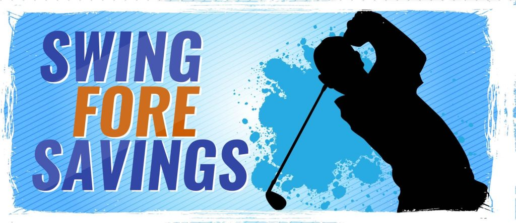 Swing for Savings logo with golfer