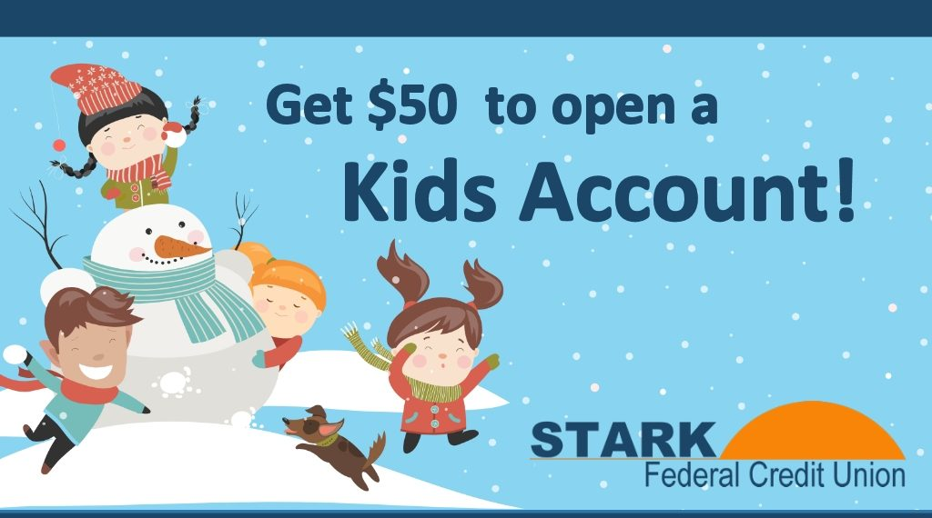 "Children having a snowball fight with the text saying ""Get $50 to open a Kids Account"""